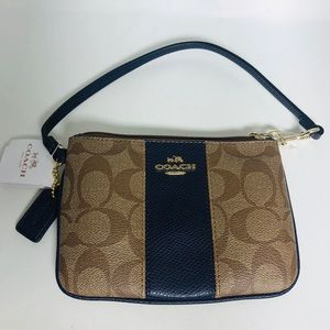 New Coach wristlet Navy Colorblock